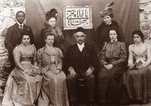Ibrahaim Kheiralla in Akka, Palestine, with some of his American followers, 1899.