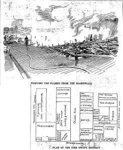 """Fighting the Fire from the Boardwalk,"" 1898. Ferzans' is halfway between Ocean Avenue and S. Carolina."